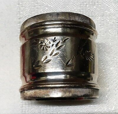 Napkin Ring - Vintage - Silver Plate - Charming Flowers