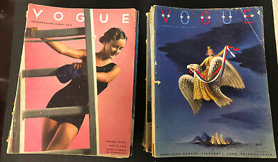 Incredible Lot of 32 Vintage VOGUE Magazines 1936 1937 1938 & 1939