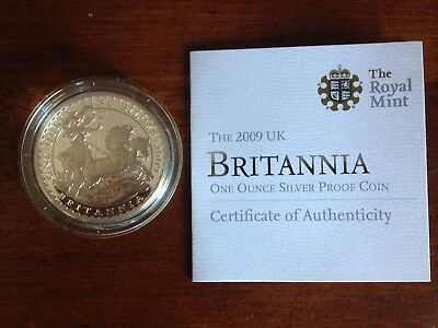 2009 Great Britain Britannia £2 Two Pound Silver Proof 1oz Coin Coa