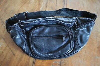 Fanny Waist Pack Purse,faux Leather,black,lots Of Pockets,preowned