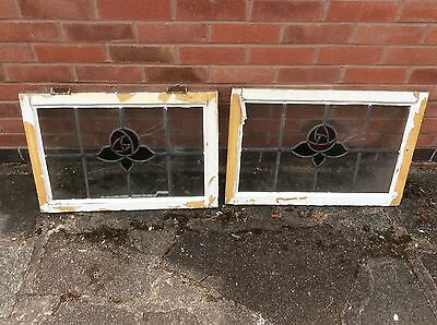 Damaged Vintage Art Deco Stained Glass Leaded Window Panel