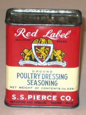 Vintage RED LABEL Ground Poultry Dressing SEASONING Advertising Tin! S.S. Pierce
