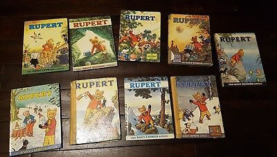 9X RUPERT THE BEAR Annuals 1960s, 1970's - used