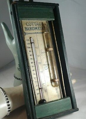 Antique 1890s Cottage Barometer Thermometer Kimball Mfg Co.