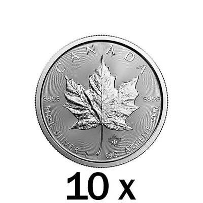 10 x 1 oz Silver Maple Leaf Coin RCM - Royal Canadian Mint