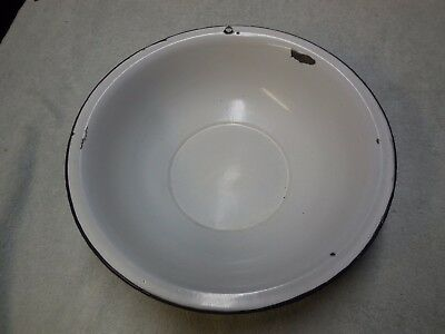 Vintage Antique Round Porcelain Enamel Wash Basin Bowl White BLUE TRIM