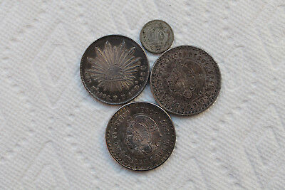 Mexico Silver Coins, 8R 1896 in great condition, 5Pesos 1947 and 1948,20C 1920