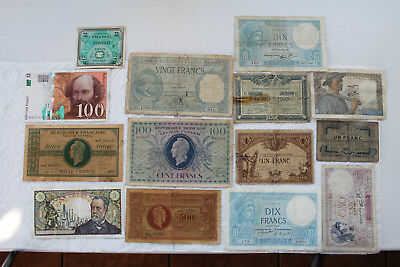 France Banknotes, 14 total, 1918-97, 1F, 10F, 500F, 1000F, 5F and 100F(1943)