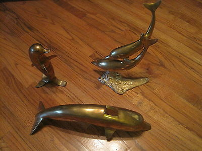 """Lot of 3 Brass Dolphin Statues Penco Large 21"""" plus 2 more"""