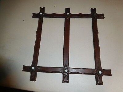 Antique Carved Walnut Mission Double Picture Frame Arts & Crafts Vintage Unique