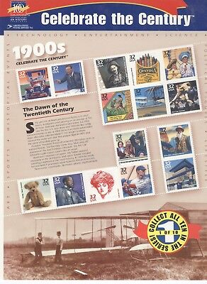 USPS Sheet of 15 Stamps Celebrate the Century 1900s History Pane MNH 1998 3182