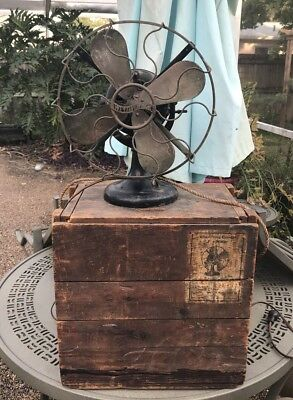 Estate Fresh As Found Westinghouse 60677 Brass Fan With Original Matching Box A+