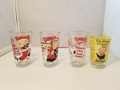 Family Guy 1 Pint Collectible Drinking Glasses. LOT OF 4 GREAT GLASSES!