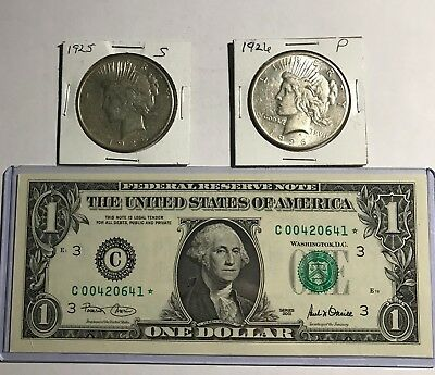 Pair 1925-S & 1926-P Peace 90% Silver Dollars & Rare 2001 $1 Gem Unc Philly Star