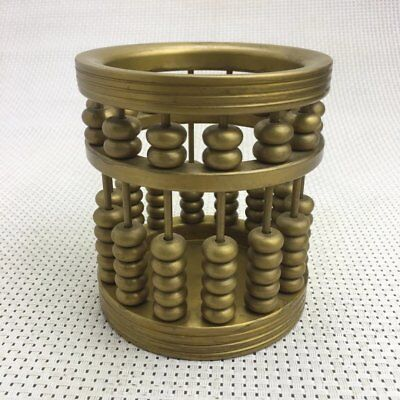 chinese old copper  carved chinese abacus Brush Pot Pencil Vase / MB