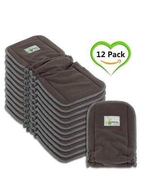 Naturally Natures Cloth Diaper Inserts 5 Layer Charcoal Bamboo inserts set of 10