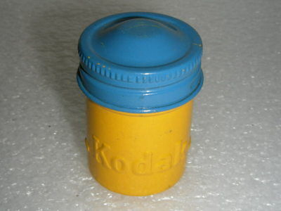 FILM HOLDER 35MM KODAK METAL CAN VINTAGE CANISTER YELLOW-BLUE GeoCaching