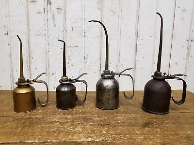 4 Old Vintage Oil Cans / Engine Oilers ~ Industrial Farm Tools Eagle Gas & Oil