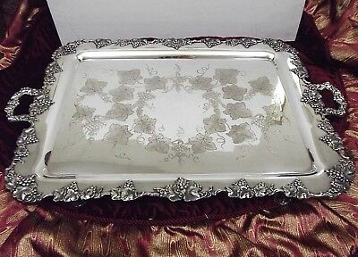 Magnificent Barbour/Int'l 1847 Rogers VINTAGE Grape Chased Butlers Tray #5336/24