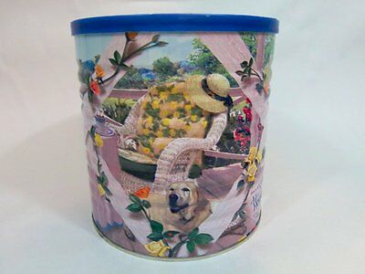 Maxwell House Coffee Can 2005 Spring Country Porch Rose Lattice Dog Empty Tin