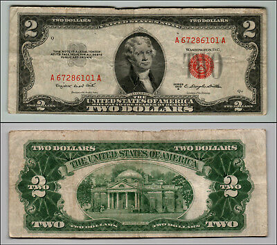 1953B $2 Dollar Bill Old Us Note Legal Tender Paper Money Currency Red Seal Z207