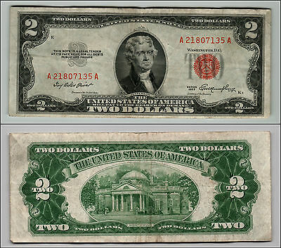 1953 $2 Dollar Bill Old Us Note Legal Tender Paper Money Currency Red Seal Q613