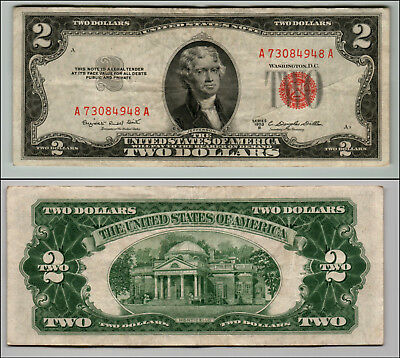 1953B $2 Dollar Bill Old Us Note Legal Tender Paper Money Currency Red Seal Z195