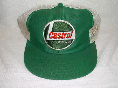 Vintage Castrol Motor Oil Well Used Patch Trucker Mesh Snapback Cap Hat USA