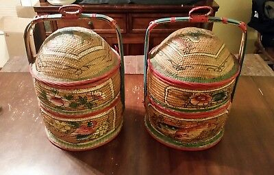 Lot of 2 Antique Hand Painted Chinese Wedding Basket w/ lid Birds Fish Flowers