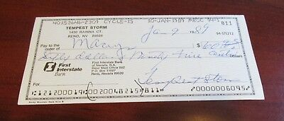 Tempest Storm Hand Signed Check...Burlesque Star+Film Actress