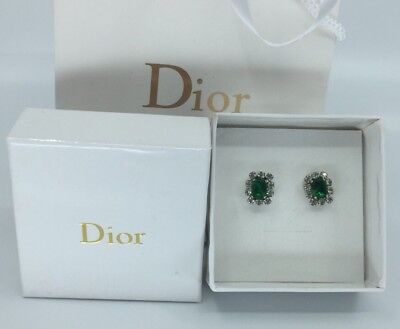 Vintage Auth Christian Dior Germany Emerald Crystal Rhodium Plate Earrings
