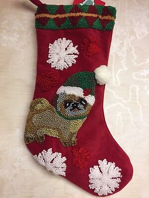NWT Pug Dog Christmas Stocking Embroidered Red Holidays Decor
