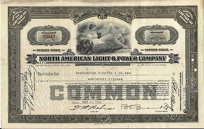 3 different colors. North American Light & Power Company stock certificate *