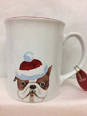 NWT Christmas English Bulldog Coffee Mug Red & White Holidays Decor
