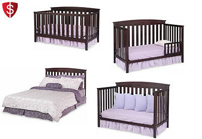 Convertible Baby Crib 4 in 1 Bed Toddler Nursery Furniture Fixed-Side Wood Metal