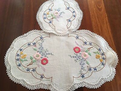 Lovely Vintage Linen Embroidered Spring Flowers Doily Pair Craft or use