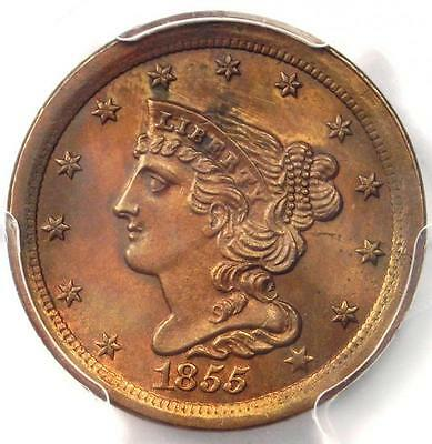1855 Braided Hair Half Cent 1/2C - PCGS Uncirculated Details (BU MS UNC)