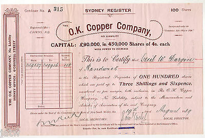 Share Scrip - Mining. 1909 O.K.Copper Company - Cairns Qld..