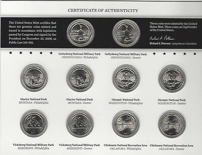 USA: America the Beautiful Quarters Uncirculated Coin Set 2011