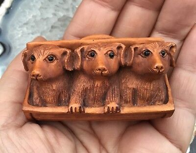 Netsuke.  Pretty Three Dogs in a Bread Basket or Box, Box Wood Netsuke.