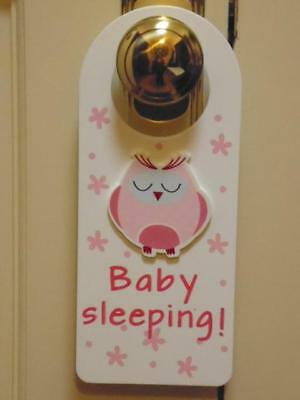 """baby Girl Pink Owl With The Words Baby Sleeping  Door Hanger/sign"""