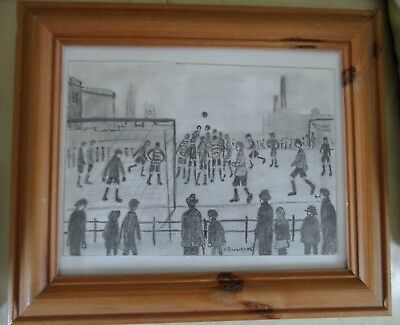 FRAMED DRAWING SIGNED L S LOWRY football match