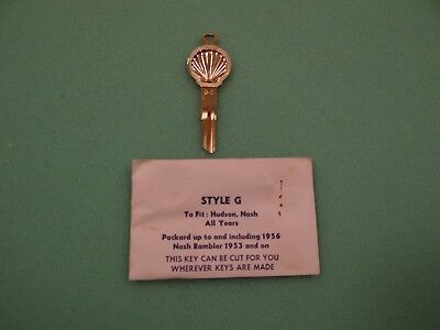 Original Shell Oil Gold Key - Uncut - Fits Hudson, Nash, Packard, and Rambler