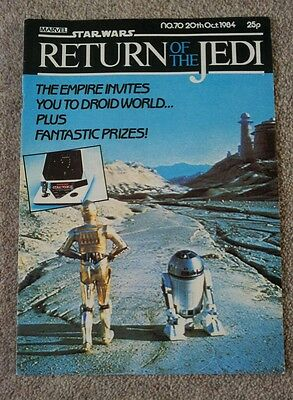 RETURN OF THE JEDI Star Wars weekly Marvel Comic No 70 20th October 1984