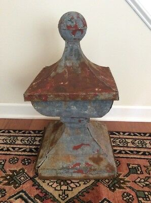 Antique Painted Rusted Tin Large Architectural Cupola