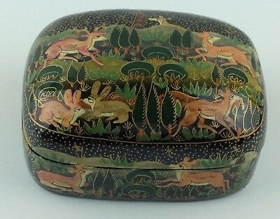 Rare Beautiful Vintage Indian Lacquer Animal Hand Painted Paper-Mache Box