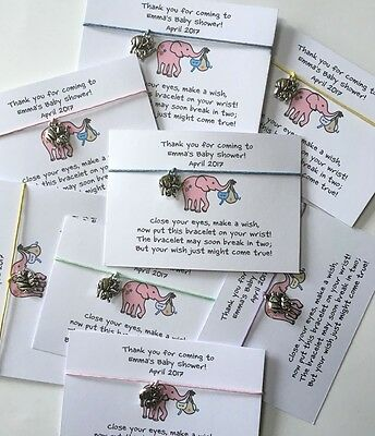 Elephant Baby Shower Wish Bracelet Thank You Party Favour - Personalised