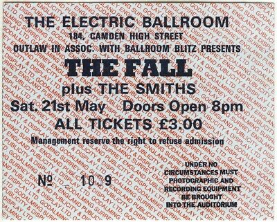 The Fall + The Smiths, Electric Ballroom gig/concert ticket, Sat. 21 May 1983