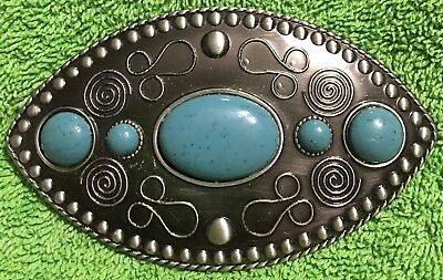 VINTAGE Nickel Silver TURQUOISE STONE INLAY Mid-Western Etched BELT BUCKLE