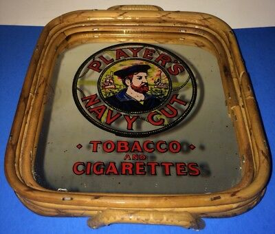Vintage Player's Navy Cut Tobacco Cigarettes Mirrored Glass Bamboo Tip Tray Bar